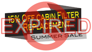 Expired - 15% off cabin filter replacement